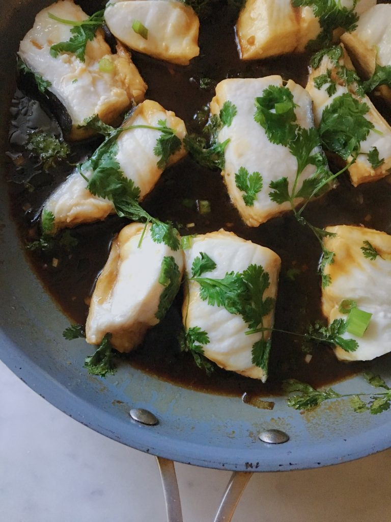 Asian Style Poached Halibut
