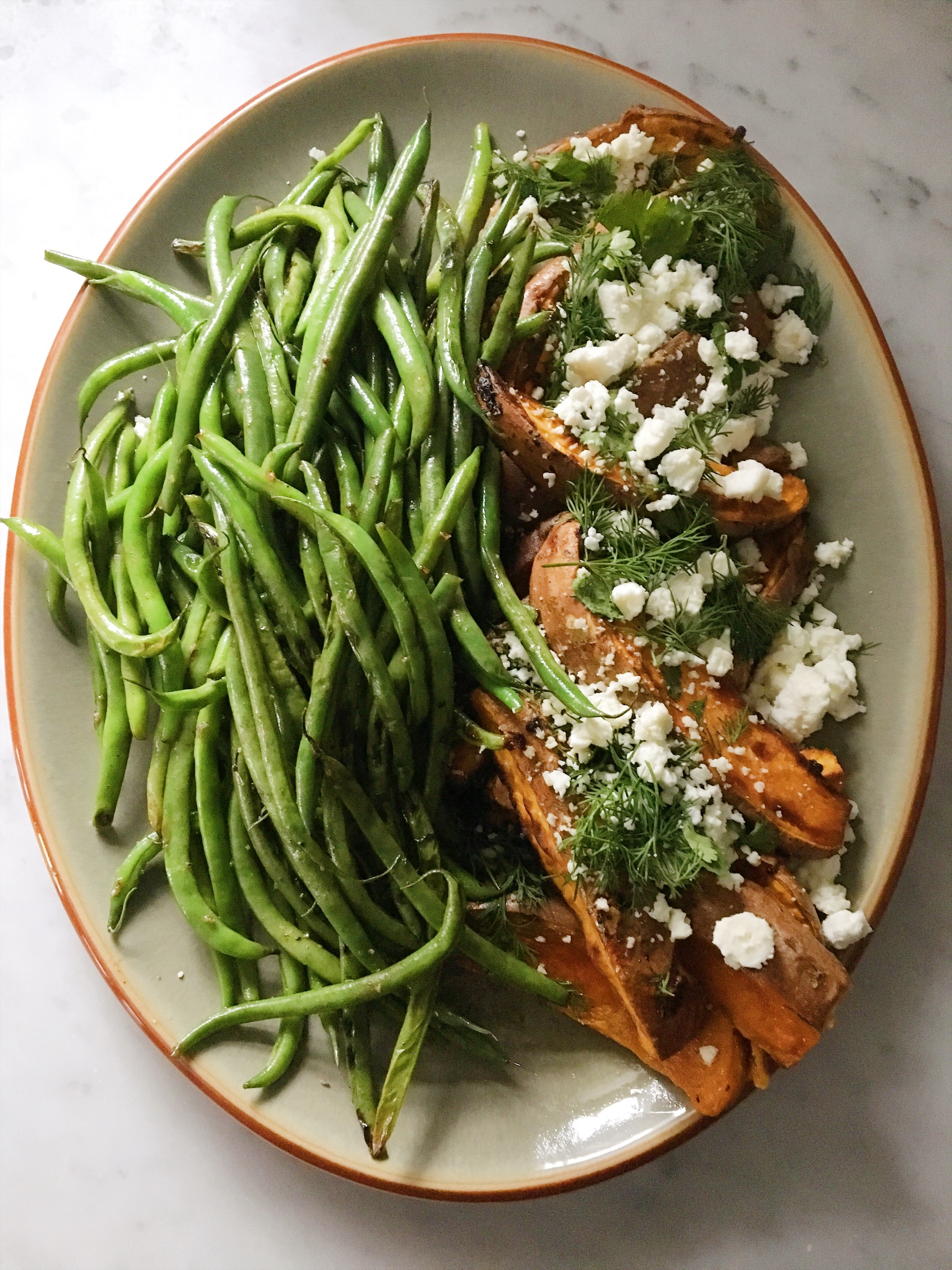 Oven Roasted Sweet Potatoes and Green Beans