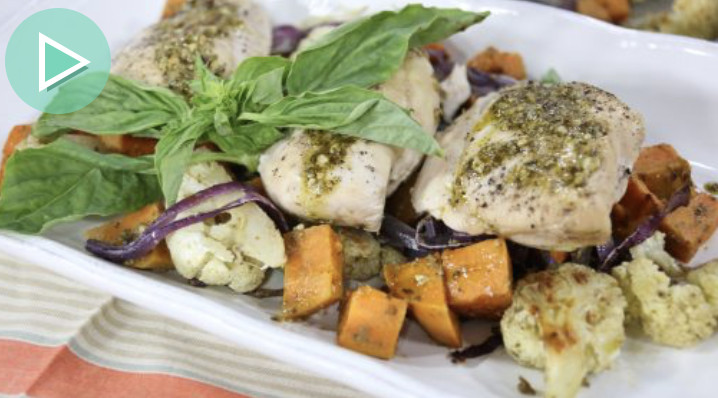 Easy Dinner Ideas: Sheet Pan Pesto Chicken with Vegetables